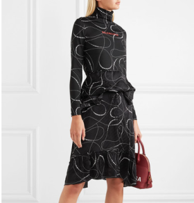 Printed jersey and silk-jacquard turtleneck dress